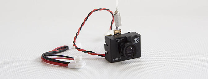 "NewBeeDrone ""Stinger Vision"" FPV Camera with 25 mW VTX. Note the flexible linear antenna"