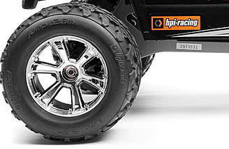 CHrome wheels and MT tires complete the HPI Jumpshot MT Fuzion FLUX