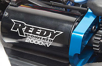 The Team Associated 1/8 Nomad DB8 comes with a Reedy 2000kv motor