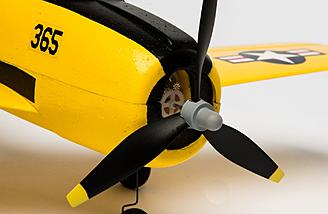 A brushed motor on a gear drive powers the Horizon Hobby/HobbyZone T-28 Trojan S.