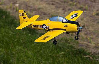 "The Horizon Hobby/HobbyZone T-28 Trojan S RTF with SAFE features a 16.8"" wingspan."