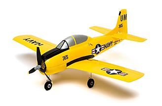 Detachable landing gear with a steerable nose wheel are included with the Horizon Hobby/HobbyZone T-28 Trojan S RTF with SAFE.