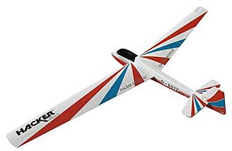 "The Hacker Model Bergfalke 2-Meter Sailplane ARF has a 78.7"" wingspan and a weight of 875g."