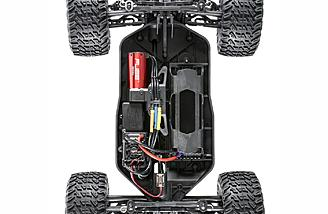 The Losi TENACITY has 12mm big-bore plastic shocks and a tough 4wd drivetrain with a center diff that provides proportional power to each end.