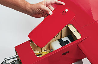 An easy to open access hatch for gas tanks or batteries.