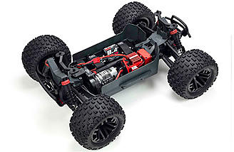 The ARRMA Granite 4x4 RTR comes with a 550-sized brushed motor, 35A esc, and an 8.4v NiMh.