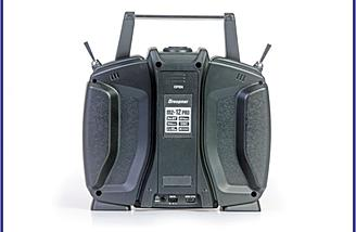 The Graupner mz-12 PRO 12 Channel 2.4GHz HoTT Transmitter has been redesigned for a better grip.