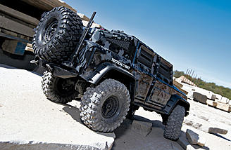 The Traxxas TRX-4 Tactical Unit is ready for your urban crawling course.