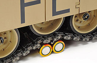 The Tamiya Abrams tank comes with flexible tracks and spring road wheels.