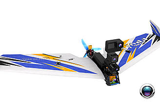 The TechOne Hobby FPV Flying Wing II is made of carbon fiber and EPP foam
