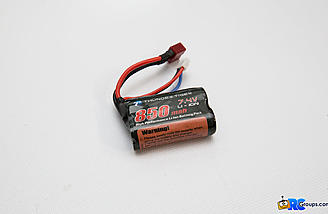 The included 7.4v 850mAh Li-Ion offers up plenty of power to turn the 380-sized brushed motor and decent run times as well.