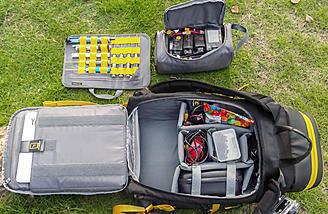a separate Lipo safe storage bag and laptop bag is included.