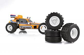 The wheels and tires match the original RC10.