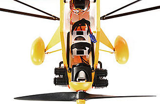 The E-flite Clipped Wing Cub 1.2m is powered by a 10-sized brushless outrunner and 40a esc.
