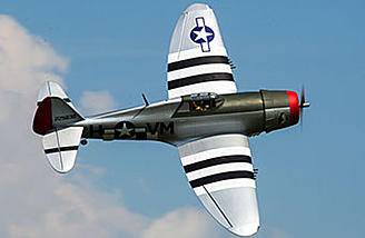 "The Hangar 9 P-47D Thunderbolt 20cc features a 67"" wingspan."