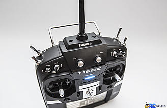 The antenna can rotate 90 degrees for storage or to adjust for optimal reception between the transmitter and model.