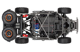 The Traxxas Unlimited Desert Racer features a scale tubular frame chassis