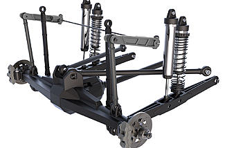 The 4-link rear suspension with twin shock absorbers at each corner.