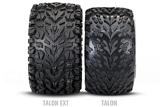 The new Talon tires are bigger and wider than the previous Revo meats.