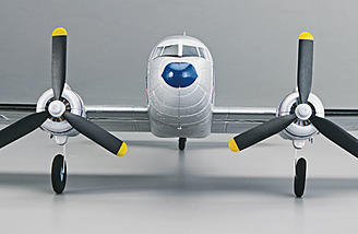 The Flyzone Micro Douglas DC-3 Airliner has counter rotating propellers.