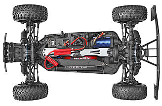 The brushless 3800kv motor and 45a esc rest in a carbon composite chassis.