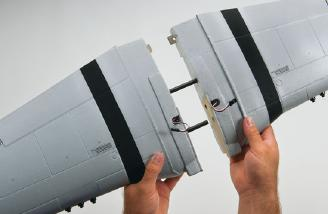 Wing slides together and bolts to fuselage. Photo courtesy of Tower Hobbies