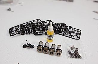 Optional metal damper kit from Tamiya was used instead of the plastic shocks