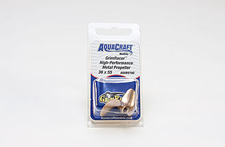The optional Aquacraft Grimracer 36x55 metal prop