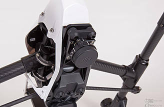 The gimbal mount with protective cover in place. Turn the lever to remove the cover