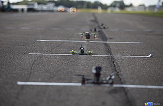 250-sized multirotors lined up to the final A-Main race