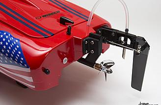 The aluminum rudder, plastic standoff bracket, and plastic strut