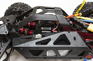 The BLX200 waterproof ESC is located on top, and features a cooling fan to help keep temps in check