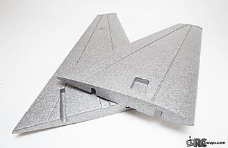 The forward-swept wings feature a thick airfoil, pre-cut servo pockets and multiple spar channels
