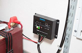 The Renogy charge controller keeps the batteries topped off