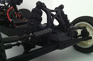 The front suspension of the Kyosho Ultima RB6 Readyset