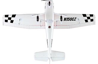 "The E-flite Cessna 150 features an 84"" wingspan and detailed scale graphics"