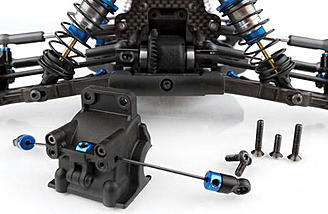 The differentials on the Team Associated RC10B64 are easy to access for quick changes between heats.