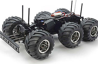 The Konghead is 6 wheel drive and front wheel steering. It can be upgraded to 4-wheel steering.