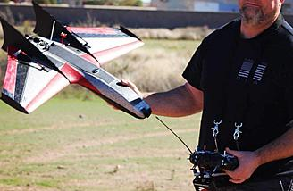 Chris Klick posing with his new toy, the Ritewing Mini Drak.