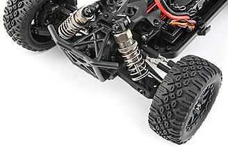 The front and rear differentials in the Losi Mini 8IGHT DB are all metal and up to the challenge of 3S LiPo power.