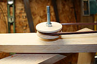 Name: Roto Caster Pully 700.jpg Views: 1882 Size: 35.3 KB Description: Homemade pulley. Created by 4 laminations of plywood discs that were cut with a hole saw.