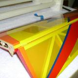 Deflected and temporarily taped aileron