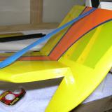 The rudder hinged in same fashion as the ailerons and temporarily taped to assist in sealing the hinge gap