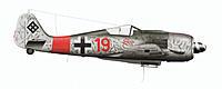 """Name: Red 19 other side.jpg Views: 564 Size: 273.0 KB Description: Red 19 """"Kölle Alaaf"""", Unteroffizier Ernst Schröder, 5./JG 300, Fall 1944, starboard side"""