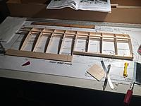 """Name: from mobile device 1395.jpg Views: 163 Size: 584.0 KB Description: upper wing spar, and upper trailing edge sheet glued in. all ribs with the exception of the main """"W1"""" rib glued in"""