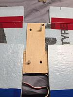 Name: IMG_0463.jpg Views: 7 Size: 664.1 KB Description: Ply for mounting the nuts. Matches the bolt pattern in the wing. Contact fit will be made to the foam underneath, wing will be trammeled with a reference line after glue is applied.