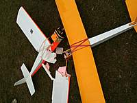 Name: IMG_0149.jpg Views: 209 Size: 85.4 KB Description: Here's the damage which prompted the new wing.  Fortunately, the other guy was able to glide to a safe landing.