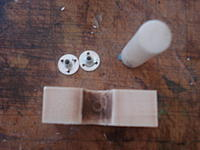 Name: DSC00589.jpg Views: 214 Size: 136.5 KB Description: Many ways to make the block but I used a drill press and scroll saw. The little hole recieves the post.