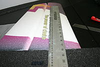 Name: IMG_6690.jpg Views: 394 Size: 123.3 KB Description: Locate the 1 x 5 x 850mm (approximate length) carbon stripes (spar material). Use a straight edge to insure your slot is straight.