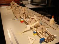 Name: F-20 build 4-24-08 014.jpg Views: 930 Size: 34.7 KB Description: Legos and bits of balsa were used as spacers to make sure it doesn't have any twists.